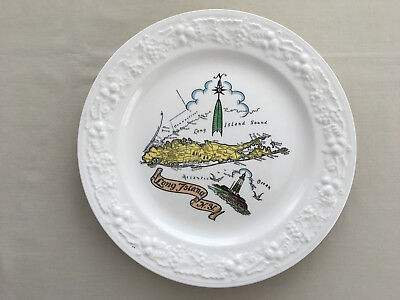 "Long Island NY Map Souvenir Plate Frederick Studio Lake Grove 10"" Homer Laughlin"
