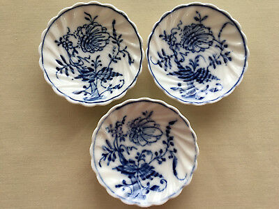 3 Vintage Blue Onion Like Pattern Porcelain Butter Pats 3""