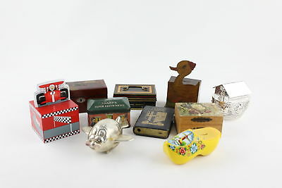 10 x Assorted Vintage MONEY BOXES Inc. Silver Plate, Wood, Racing Car, Bank