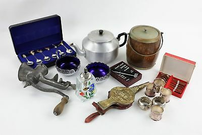Job Lot of Vintage Mixed Kitchenalia Inc. Silver Plate, Spoons, Napkin Rings
