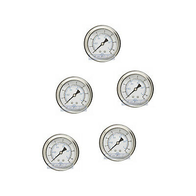 "5 Pack Liquid Filled Pressure Gauge 0-15 Psi, 2.5"" Face, 1/4"" Back Mount Wog"