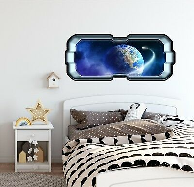 Wall Stickers Space Moon Planet Comet Kids Smashed Decal 3D Art Vinyl Room AA556