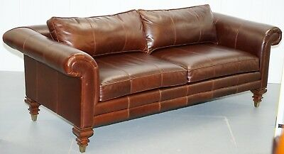 Rrp £16,000 Stunning Ralph Lauren Colonial Thick Brown Leather Three Seater Sofa