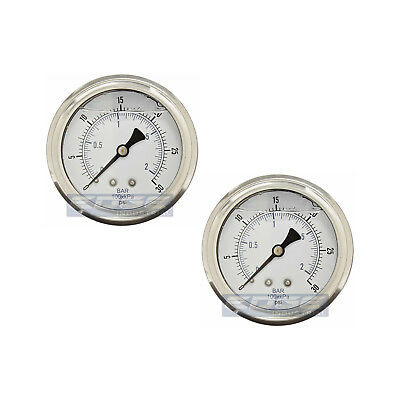 "2 Pack Liquid Filled Pressure Gauge 0-30 Psi, 2.5"" Face, 1/4"" Back Mount Wog"