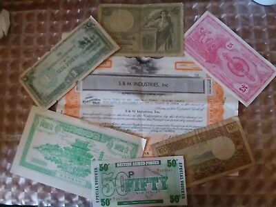 Interesting Mixed Lot Of Old World Banknotes And An Old Stock Certicate