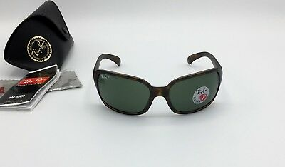Ray-Ban RB4068 894/58 Women's Matte Tort Sunglasses POLARIZED Classic Green Lens
