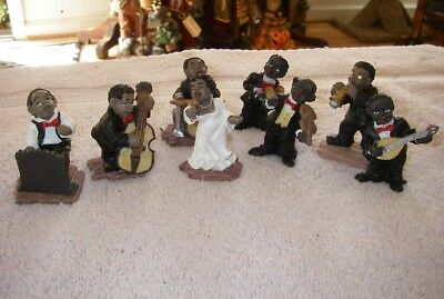 Jazz Band Black Americana Musicians Figures Set Of 8 Resin - 2 1/2""