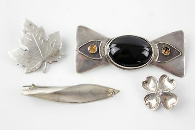 4 Vintage Stamped / Hallmarked .925 STERLING SILVER BROOCHES inc Modernist (17g)