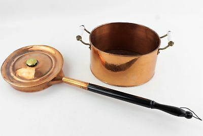 2 x Vintage COPPERWARE Inc. Bedpan & Hammered Pot (1735g)