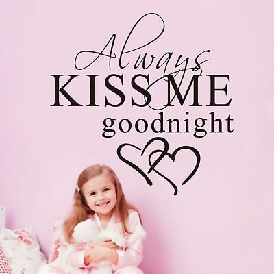 ALWAYS KISS ME GOODNIGHT LOVE Quote Wall Stickers Bedroom Decal Home Decor