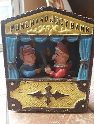 Cast Iron Coin Mechanical Bank Pinch And Judy Bank ~ Vintage ~