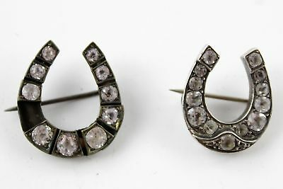 2 Antique Victorian .925 Sterling Silver & Paste Lucky HORSESHOE BROOCHES (10g)