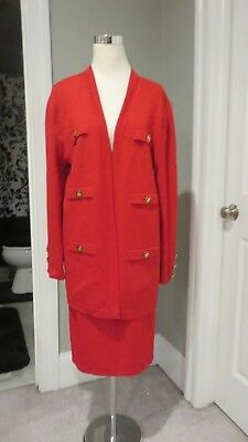 St John Collection By Marie Gray Red Knit Skirt and Jacket Set 14