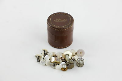 25 True Vintage & Antique Mother of Pearl DRESS BUTTONS & Studs w/ Box