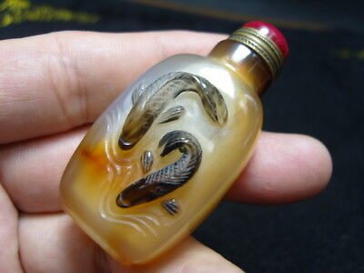 Exquisite Chinese AGATE hand carved snuff bottle    - See Video   6