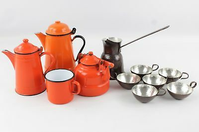 Set of Vintage KITCHENALIA Inc. Stone Enamel Set w/ Coffee Pot, Mug, Teapot Etc