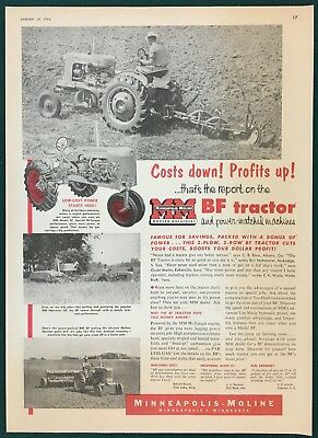 """1953 MINNEAPOLIS-MOLINE MODEL BF TRACTOR & IMPLEMENTS, Large Ad, 10"""" x 14"""""""