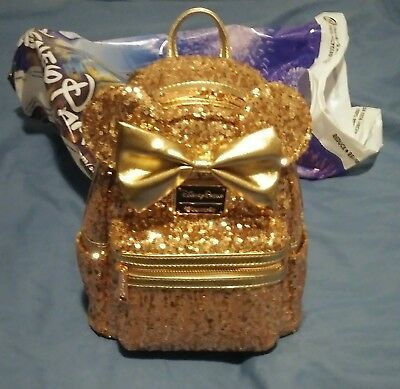 Disney Loungefly Rose Gold Sequin Minnie Mini Backpack Bag Ears