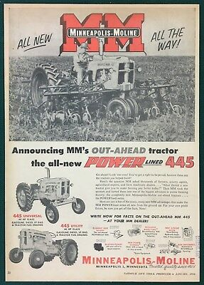 """1956 MINNEAPOLIS-MOLINE NEW POWERLINED 445 TRACTOR - Large Ad, 9-5/8"""" X 13-3/4"""""""