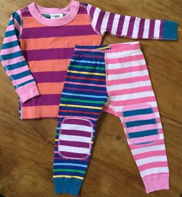 HANNA ANDERSSON Striped Pajamas Long Johns size 80 18-24 Months EUC