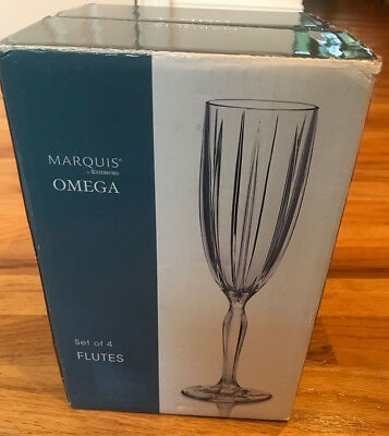 Marquis by Waterford Crystal Omega Glasses FLUTES Set of 4 NEW IN BOX