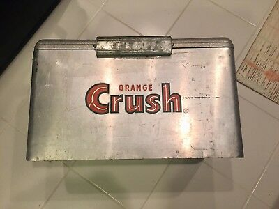 vintage metal aluminum soda Orange Crush cooler ice chest embossed