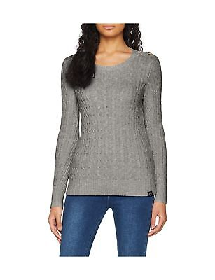 9544e3709a12f SUPERDRY CROYDE CABLE Knit Womens Jumper Knits - Grey Marl All Sizes ...
