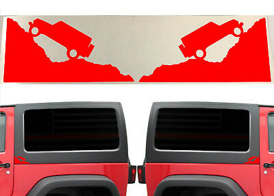 (4) Gloss Red Jeep Climbing Mountain Decals For 2007-2018 Jeep Wrangler JK JL
