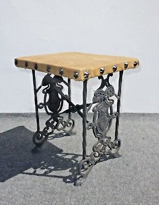 Vintage Spanish Style Ornate Wrought Iron Bench ~ Side Table