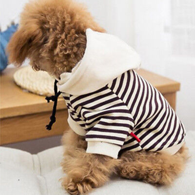 Pet Puppy Cat Dog Clothes Winter Apparel Dog Striped Hoodie Jumper Sweater Coat