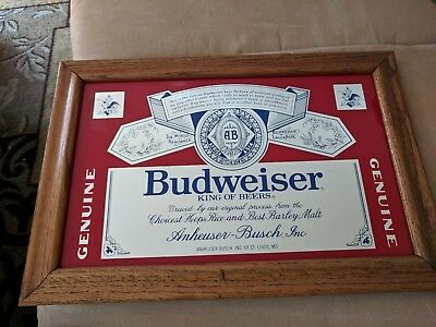 Budweiser King Of Beers Anheuser-Busch Mirror Sign