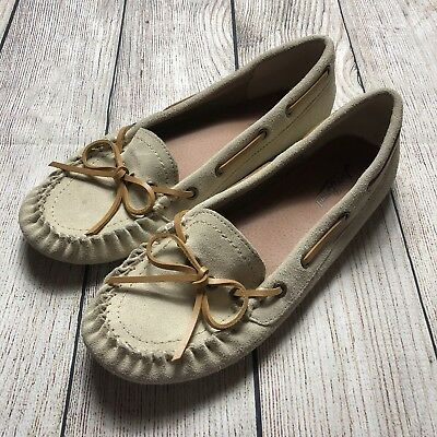 971df82389e LUCKY BRAND BEIGE Tan Leather Moccasin Loafer Flats Womens Size 9 ...