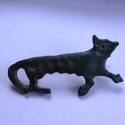 Germanic Celtic Scandinavian Ancient Artifact Bronze Zoomorphic Fibula Cat