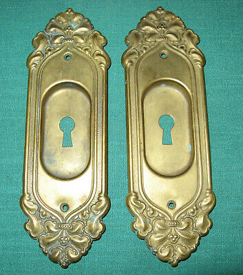 Vintage Antique Brass Victorian Art Noveau Pocket Door Pull Handle Keyhole Cover