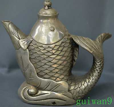 Collectable Handwork Miao SIlver Carve Big Lotus Goldfish King Use Old Tea Pot