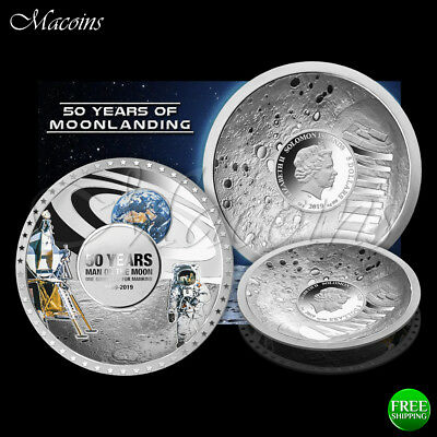 50 Years Of Moon Landing 2019 Solomon Islands Dome Shaped Convex Silver Coin