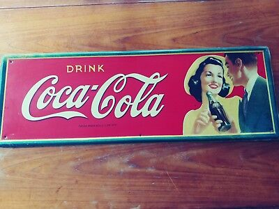 Vintage coca cola porcelain sign