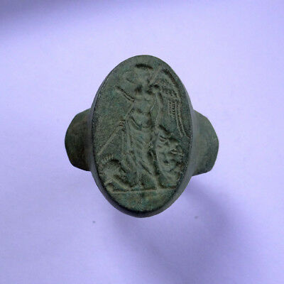 Roman Ancient Artifact Bronze Massive Ring With Goddess Victoria Victory