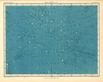 Atlas of Astronomy by Alex Keith Johnston Plate - 15. Maps of the Stars no.1