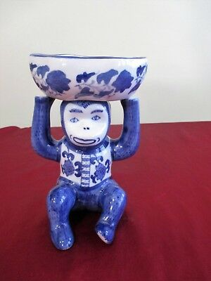 """Hand Painted Blue and White Porcelain Monkey w Bowl On His Head 7 5/8"""""""