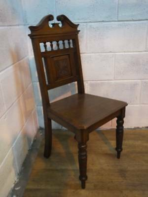 SOLID MAHOGANY LATE VICTORIAN HALL / BEDROOM CHAIR with TURNED FORE SUPPORTS.