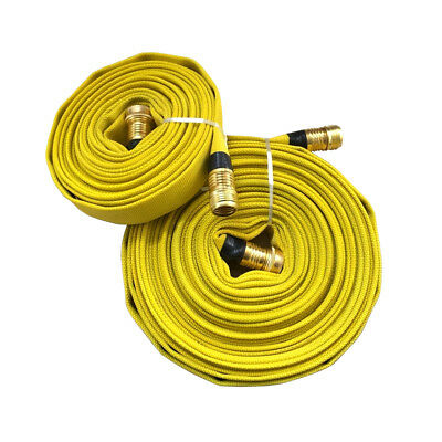 Forestry Grade Lay Flat Fire Hose w/Brass Fittings Garden Thread YELLOW, 250 PSI