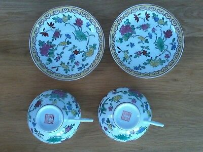Chinese 2 Cups And 2 Saucers. Very Fine Porcelain. Lovely Colours And Condition.