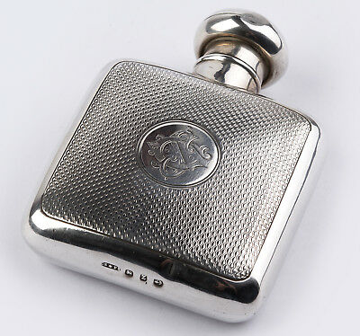 Sterling silver flask Birmingham year 1899 guilloche!