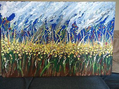 Large Original Acrylic on Canvas--Impressionistic Painting of Garden