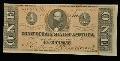 1864 One Dollar Confederate Note T71 Item K-40