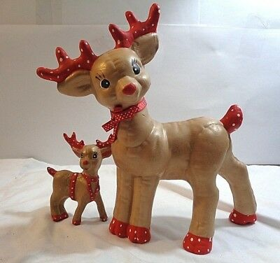 Vintage 2 Christmas Deer Ceramic Figurine Fawn Doe Buck Nose Mom And Baby Old