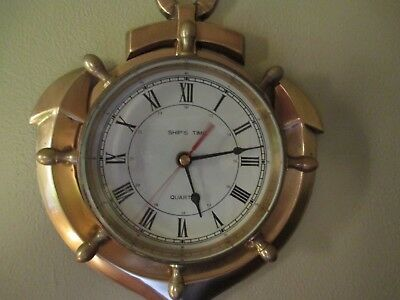 Antique Brass Ship Anchor Roman Numeral Wall Clock Vintage Nautical Decor Item