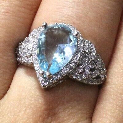 Sparkling Pear Aquamarine Ring Women Jewelry 14K White Gold Plated Nickel Free