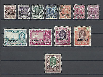 BURMA 1946 SG O28/39 (Short Set) USED Cat £183